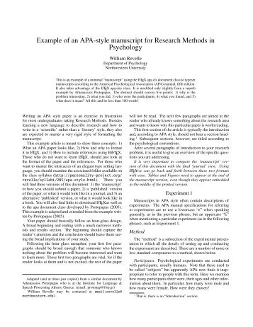 APA style manuscript 1 Running head - The Personality Project