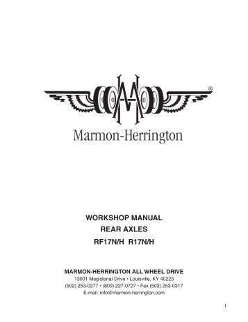 workshop manual rear axles rf17n/h r17n/h - Marmon-Herrington