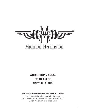 workshop manual rear axles rf17n/h r17n/h - Marmon-Herrington