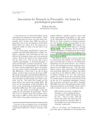 Association for Research in Personality - The Personality Project