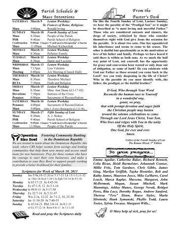 Fourth Sunday of Lent Bulletin 3/10/13 - Mother of Sorrows Parish