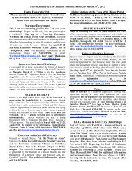 Fourth Sunday of Lent Bulletin Announcements for March 18th, 2012 ...