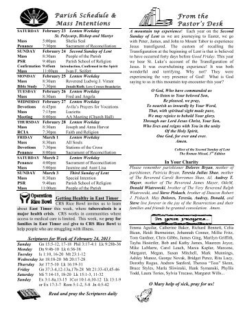 Second Sunday of Lent Bulletin 2/24/13 - Mother of Sorrows Parish