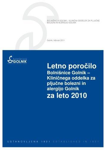 Letno poročilo za leto 2010 - Bolnišnica Golnik