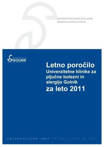 Letno poročilo za leto 2011 - Bolnišnica Golnik