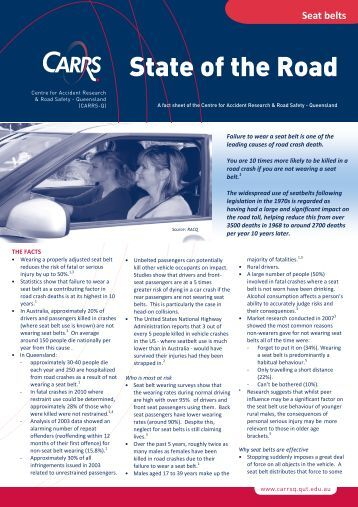Seat belt fact sheet - Centre for Accident Research and Road Safety ...