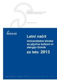 Program dela in finančni načrt 2013 - Bolnišnica Golnik