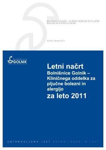 Program dela in finančni načrt 2011 (.pdf) - Bolnišnica Golnik