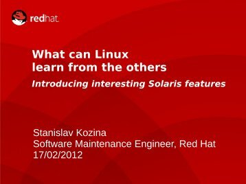 What can Linux learn from the others - rvokal@fedorapeople.org