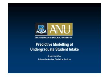 Predictive Modelling of Undergraduate Student Intake - aair