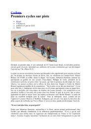 Cyclisme Premiers cycles sur piste - Ccsl