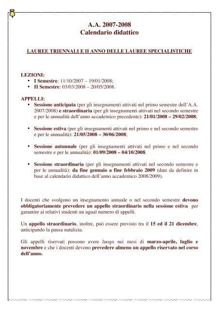 Calendario Lezioni Unict.A A 2007 2008 Calendario Didattico