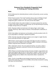 Common Core Standards Frequently Used In Cooking ... - Life Lab