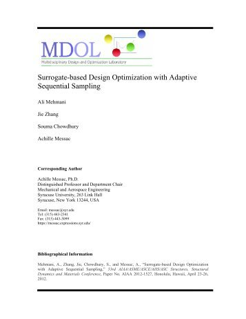 Surrogate-based Design Optimization with Adaptive Sequential ...