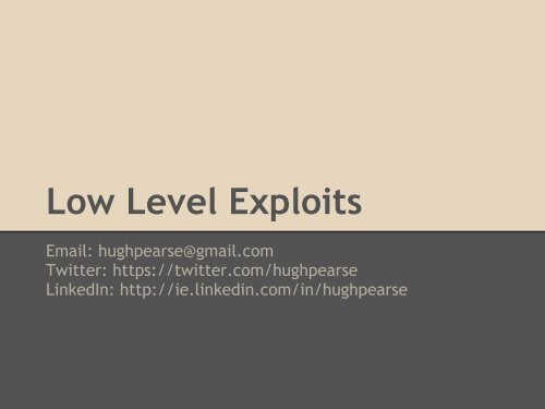Low Level Exploits - Packet Storm