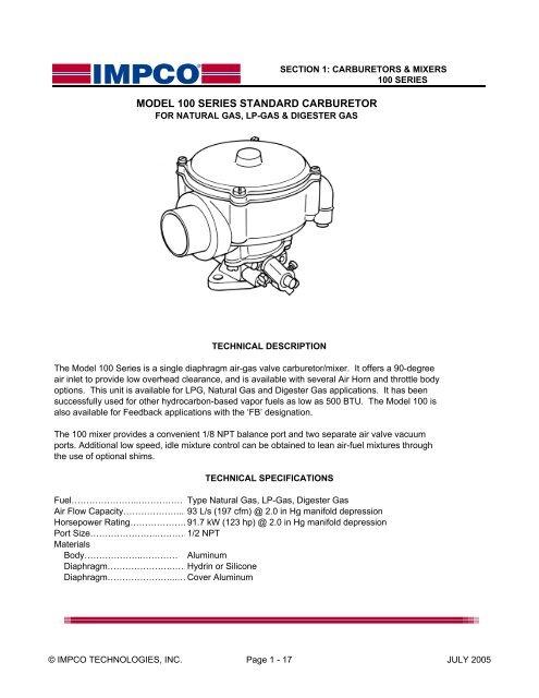 model 100 series standard carburetor - Teeco Products, Inc