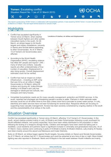 OCHA Yemen Situation Report_20150331