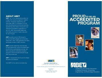 View a low-resolution version of the brochure - ABET