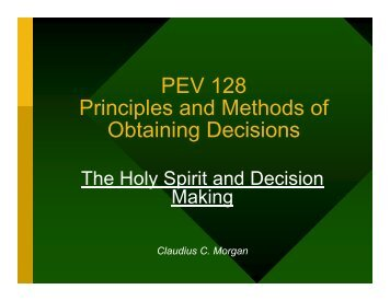 PEV 128 Principles and Methods of Obtaining Decisions