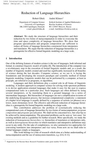 Reduction of Language Hierarchies - Program Analysis and ...