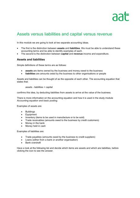 Assets versus liabilities and capital versus revenue - AAT