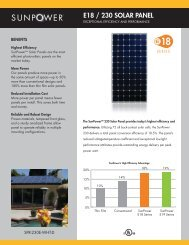 SunPower E18/230 Solar Panel - Clean Fuel Connection