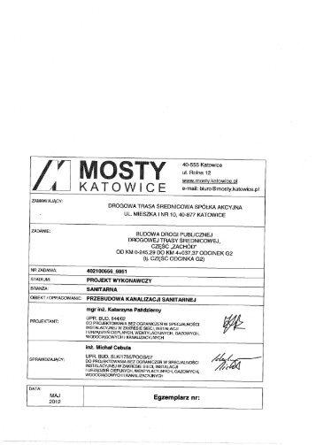 40-555 Katowice ul. Rolna 12 www.mosty.katowice.g  e-mail: biuro ...