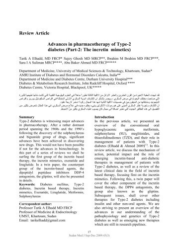 Review Article Advances in pharmacotherapy of Type-2 ... - Smj.eg.net