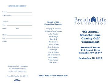 4th Annual Mesothelioma Charity Golf Tournament