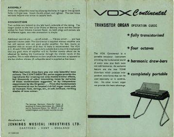 Vox Continental Owners Manual (JMI) - Combo Organ Heaven