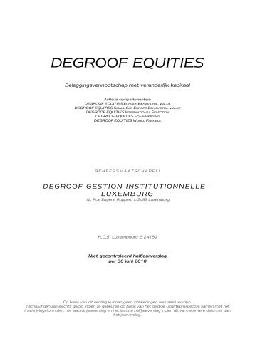 DEGROOF EQUITIES - Banque Degroof