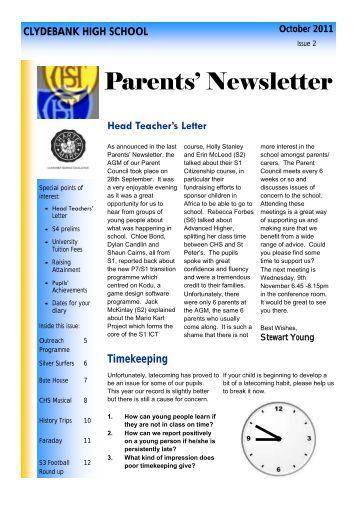 Parents' Newsletter - Clydebank High School
