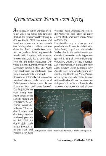 Gemeinsame Ferien vom Krieg - Deutscher Verein vom Heiligen ...