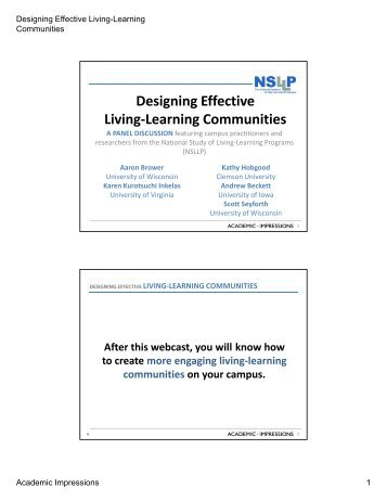 Designing Effective Living Learning Communities Living-Learning ...