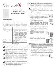 Wireless Dimmer Installation Guide - Control4