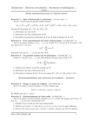 Topologie et espaces métriques, exercices. Table des mati ...