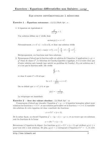 Exercices - Equations différentielles non linéaires : corrigé ... - Bibmath