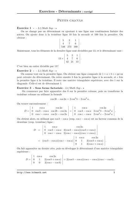 Exercices Da C Terminants Corriga C Petits Calculs Bibmath