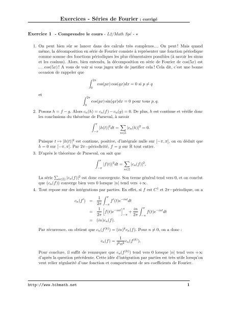 Exercices Sa C Ries De Fourier Corriga C Bibmath