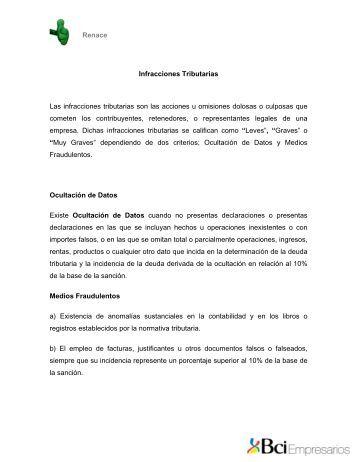 Infracciones tributarias - Bci