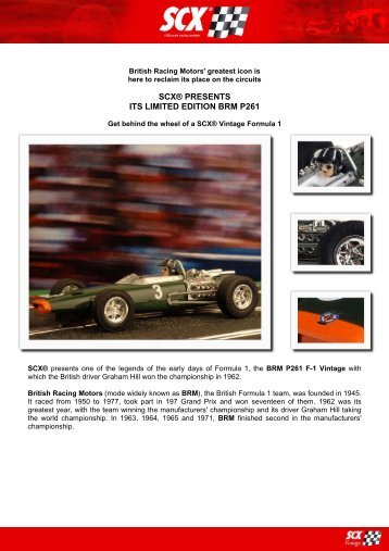 SCX® PRESENTS ITS LIMITED EDITION BRM P261 - Creative Hobby