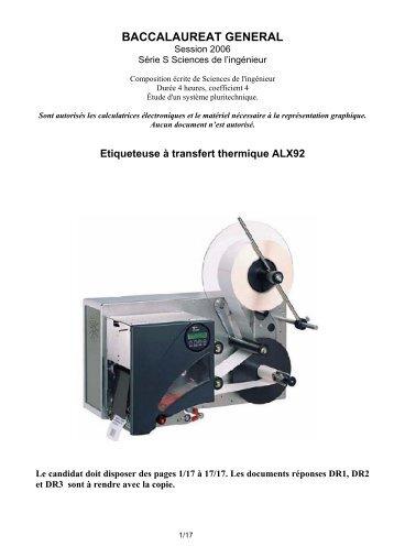 Etiqueteuse à transfert thermique ALX92 - Gecif.net