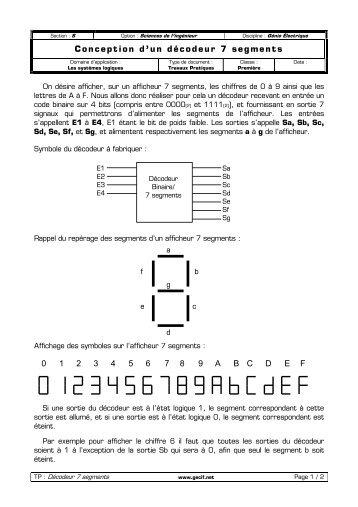 Conception d'un décodeur 7 segments 0 1 2 3 4 5 6 7 8 9 ... - Gecif.net