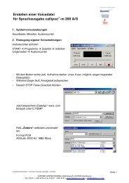Erstellen einer Voicedatei für Sprachausgabe callipso -m 200 A/G