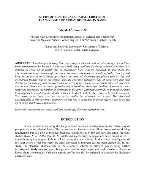 study of electrical characteristic of transverse arc array dischage in ...