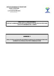 Annexe 1 de la directive n°11/2009/CM/UEMOA