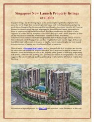 Singapore New Launch Property listings available