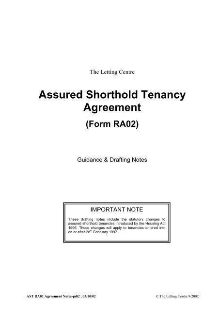 Assured Shorthold Tenancy Agreement Letlink