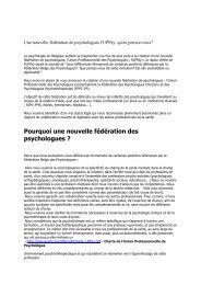 Pourquoi une nouvelle fédération des psychologues ?