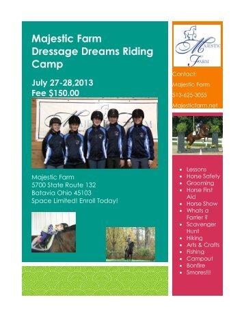 Majestic Farm Dressage Dreams Riding Camp July 27-28,2013 Fee ...